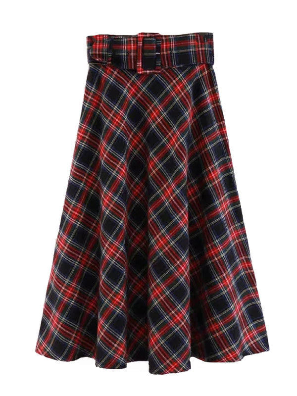'Bucky' English Plaid Belted Midi Skirt