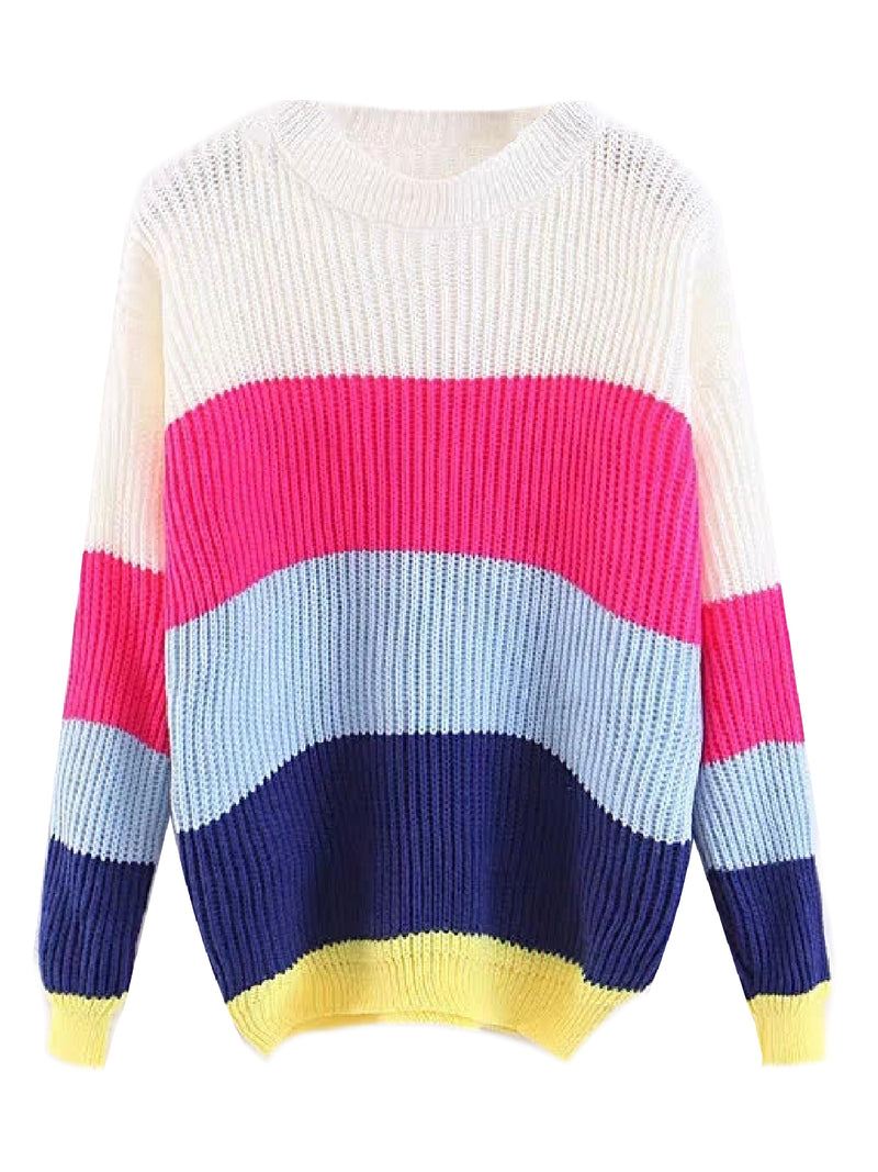 'Liv' Color Block Crewneck Sweater (3 Colors)