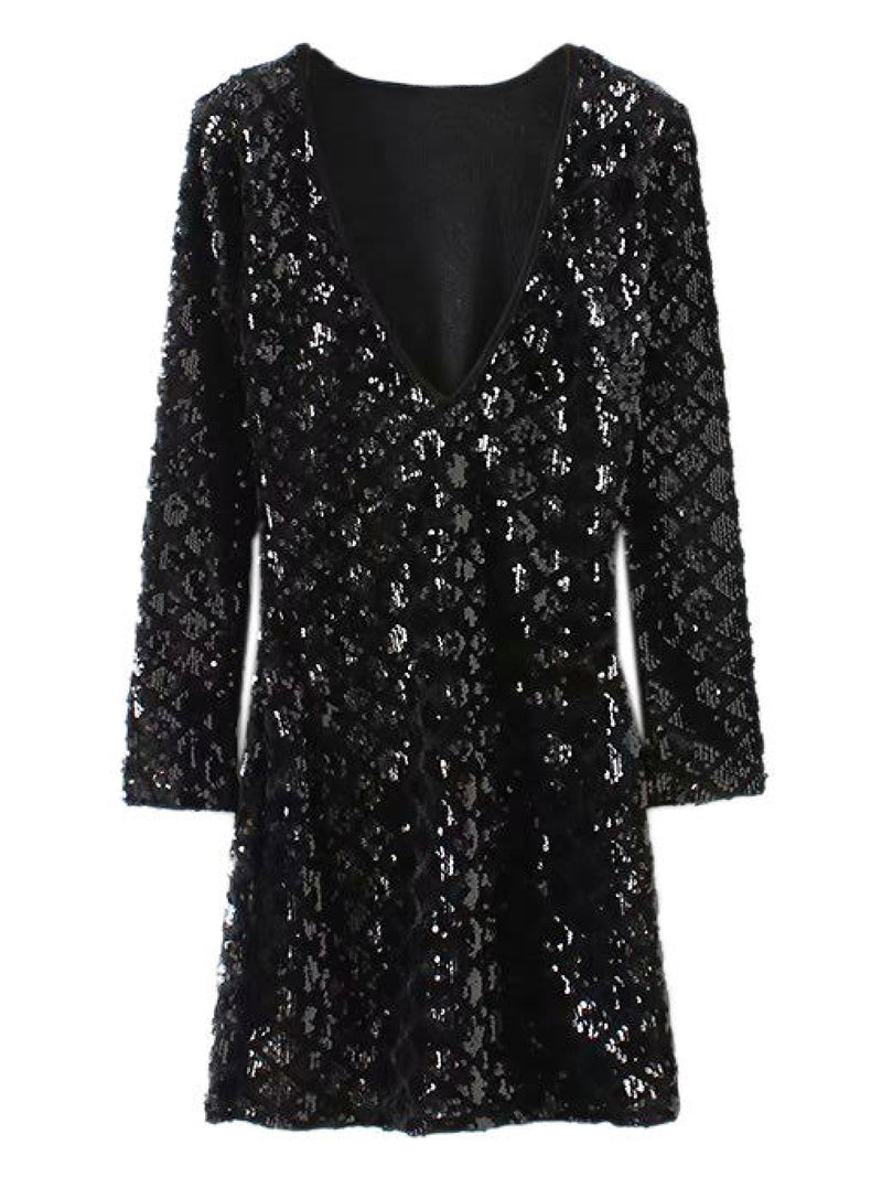 'Poppy' Deep V-Neck Sequined Mini Dress (2 Colors)