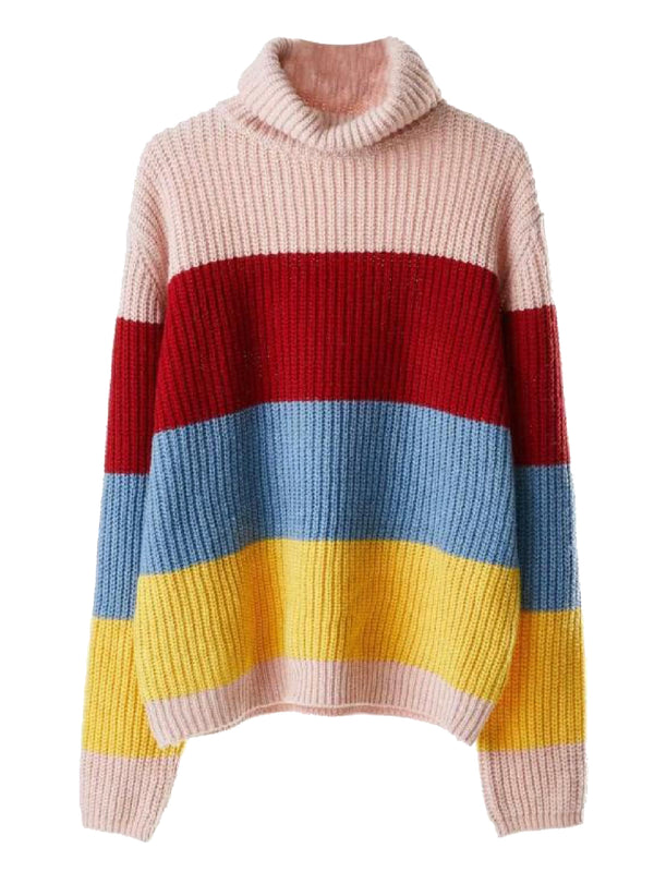 'Lyra' Color Block Turtleneck Sweater (2 Colors)