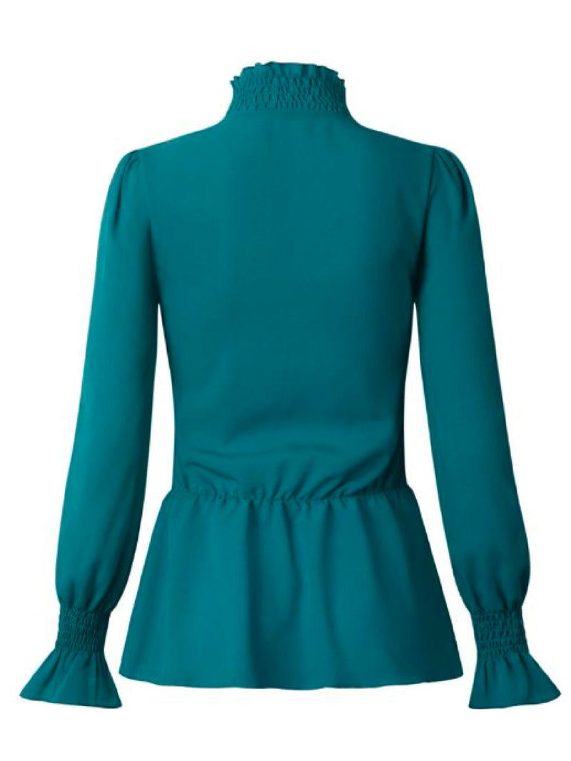 'Chloe' Ruched High Neck Peplum Top (5 Colors)