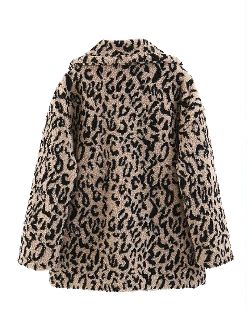 'Kelsa' Leopard Print Fleece Coat