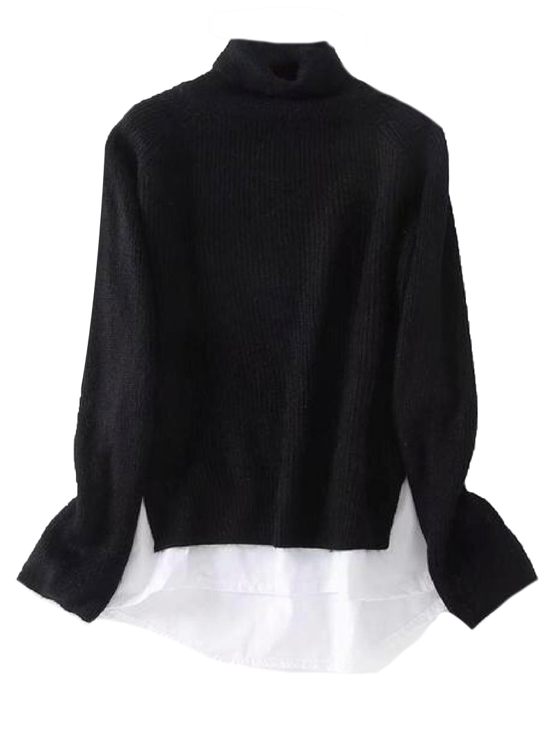 'Jolie' Roll Neck Mock Shirt Knitted Sweater (4 Colors)
