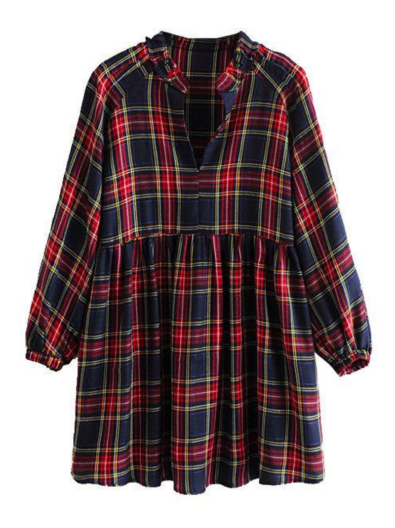 'Angie' Plaid Flared Blouse