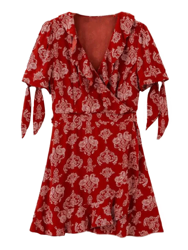 'Kinzie' Bohemian Print Ruffled Mini Wrap Dress