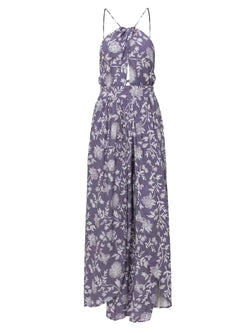 'Ragine' Floral Halter Neck Open Back Maxi Dress (3 Colors)