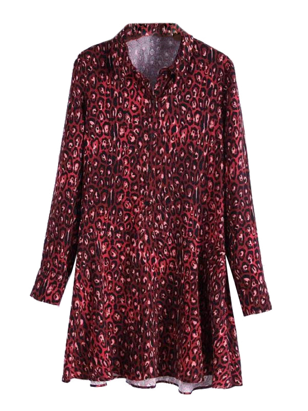 'Tauri' Red Leopard Print Mini Shirt Dress