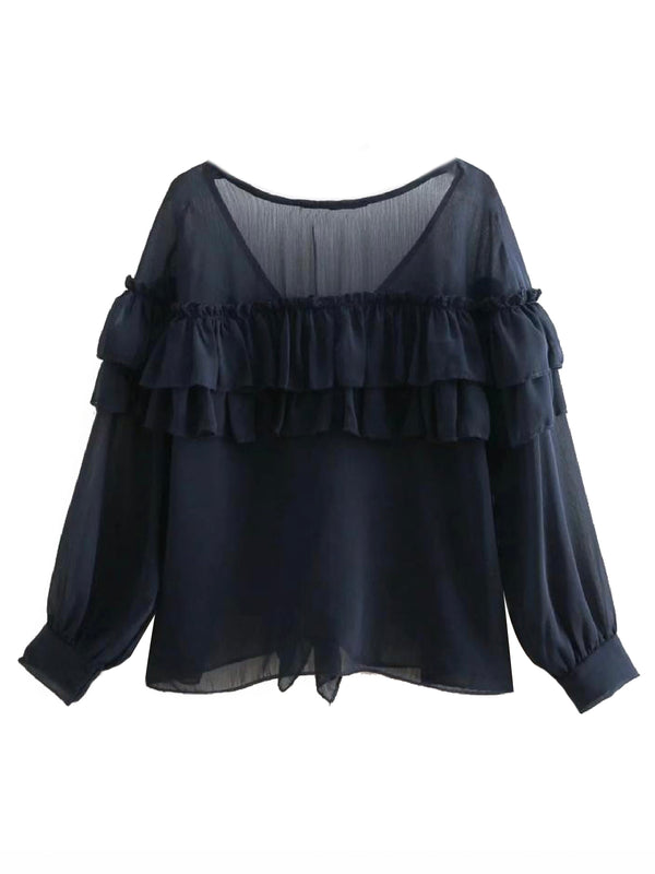 'Zavrina' Navy Ruffled Sheer Blouse