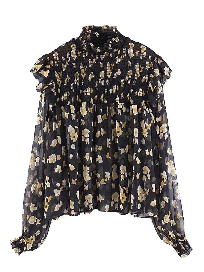 'Cleva' Ruched High Neck Ruffled Floral Blouse (2 Colors)