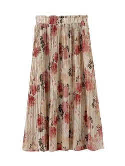 'Deondra' Floral Pleated Midi Skirt