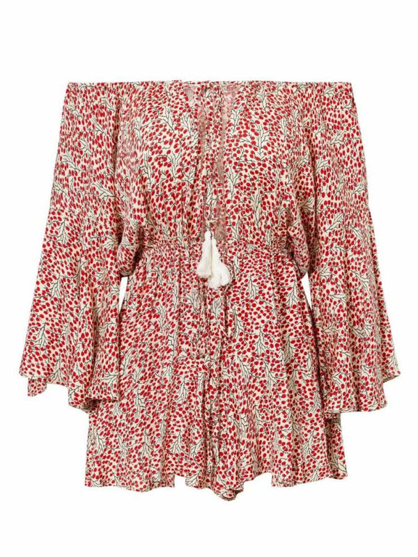 'Ellice' Floral Tassel Off The Shoulder Romper