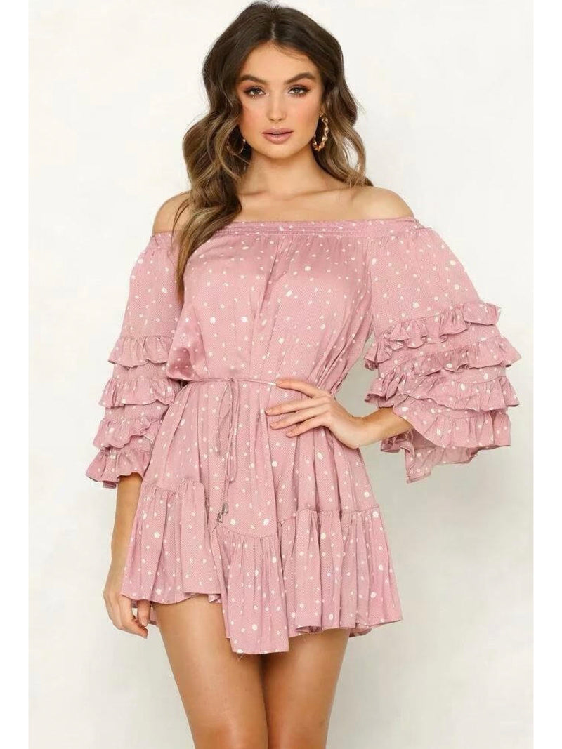 'Quinn' Dotted Off The Shoulder Ruffled Sleeve Dress