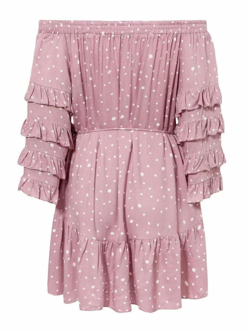 'Quinn' Dotted Off The Shoulder Ruffled Sleeve Romper
