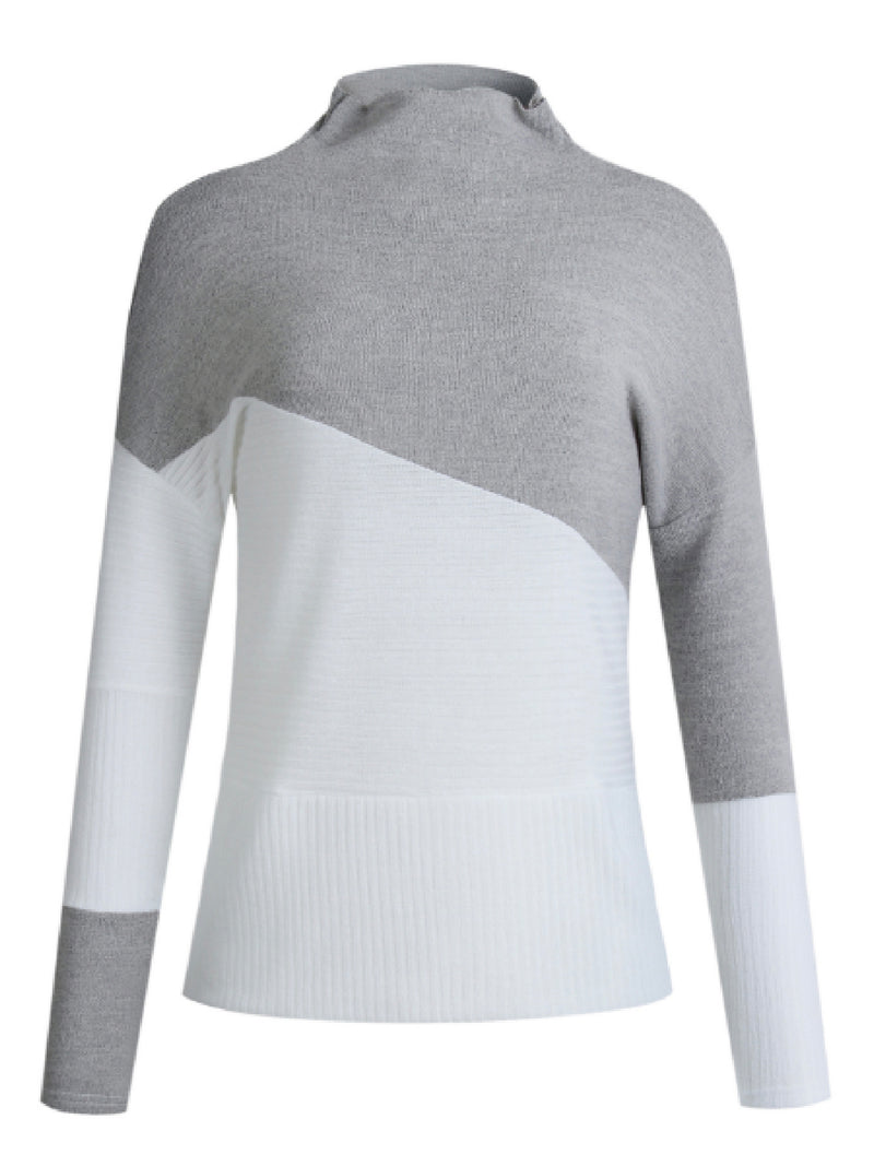 'Whaley' Bicolor High Neck Mixed Knit Sweater