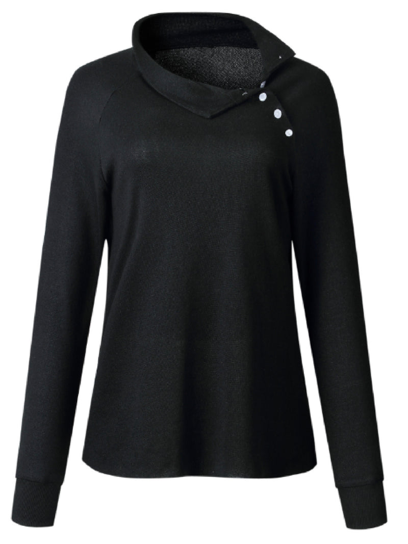 'Hollyn' Asymmetrical Buttoned Collar Sweater (3 Colors)