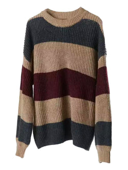 'Jen' Color Block Crewneck Knitted Sweater