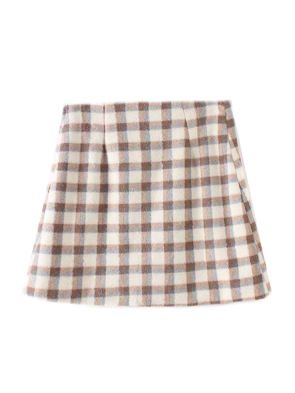 'Marigold' Checked Print Mini Skirt