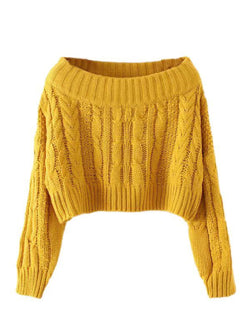 e7fac62d7ca Jonquill' Off The Shoulder Cable Knit Cropped Sweater - Goodnight ...