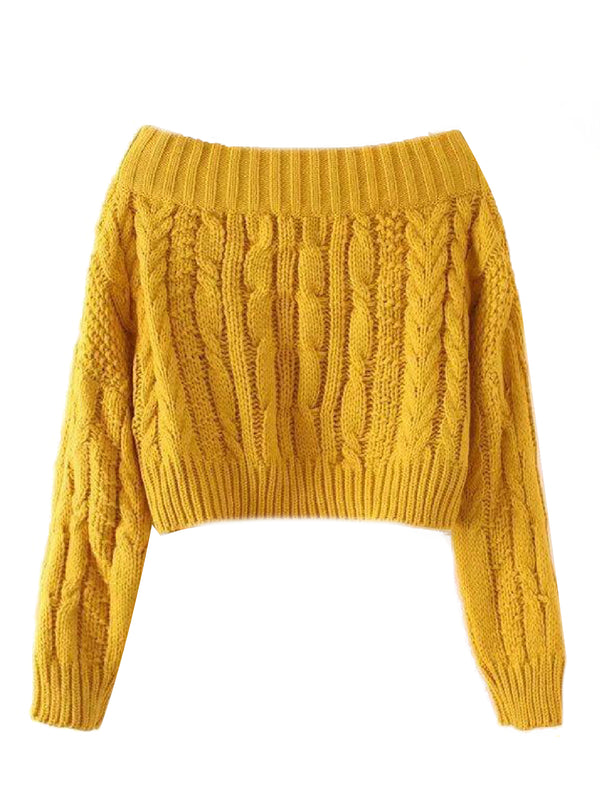 'Jonquill' Off The Shoulder Cable Knit Cropped Sweater