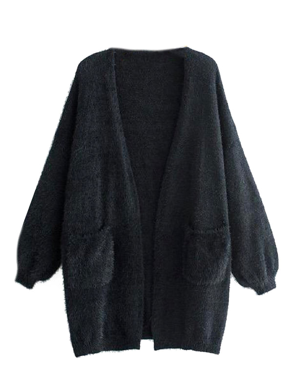 'Han' Fluffy Bishop Sleeve Open Cardigan (2 Colors)