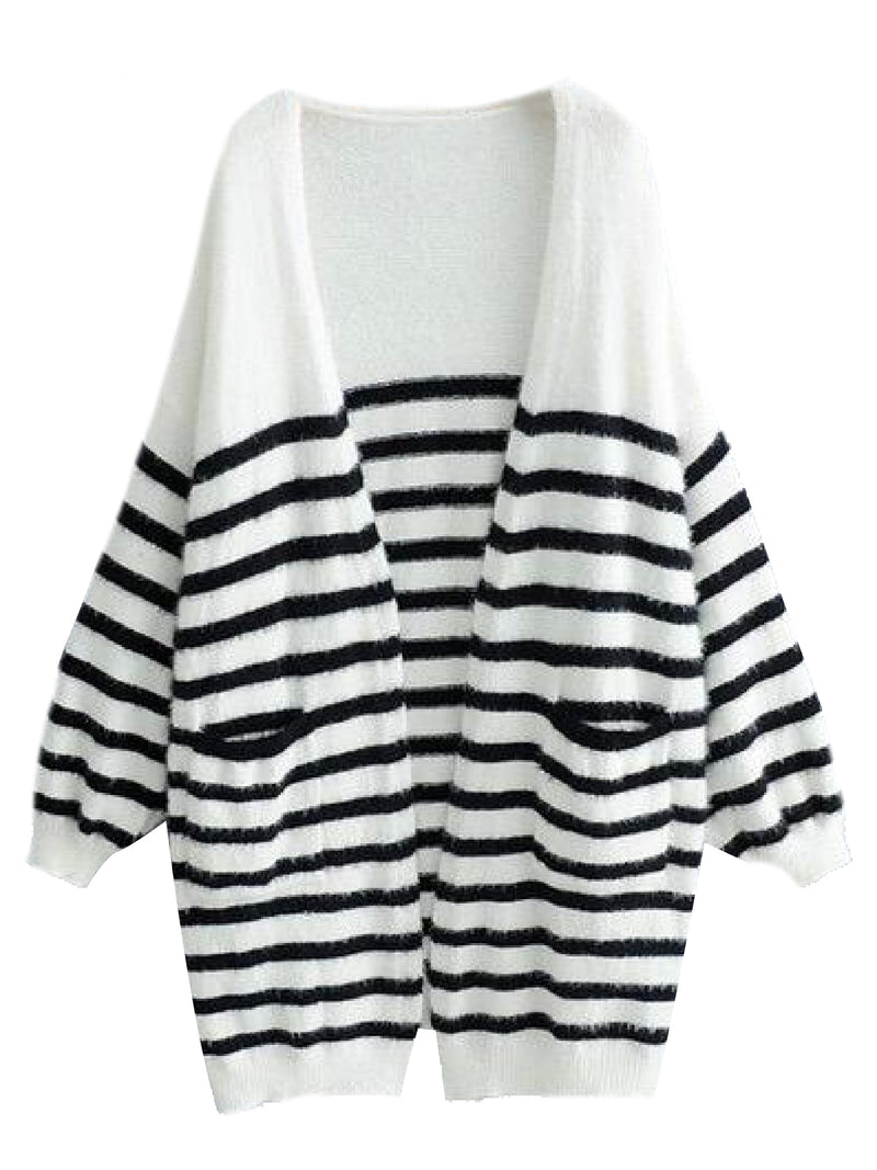 'Lisbeth' Striped Fluffy Bishop Sleeve Open Cardigan