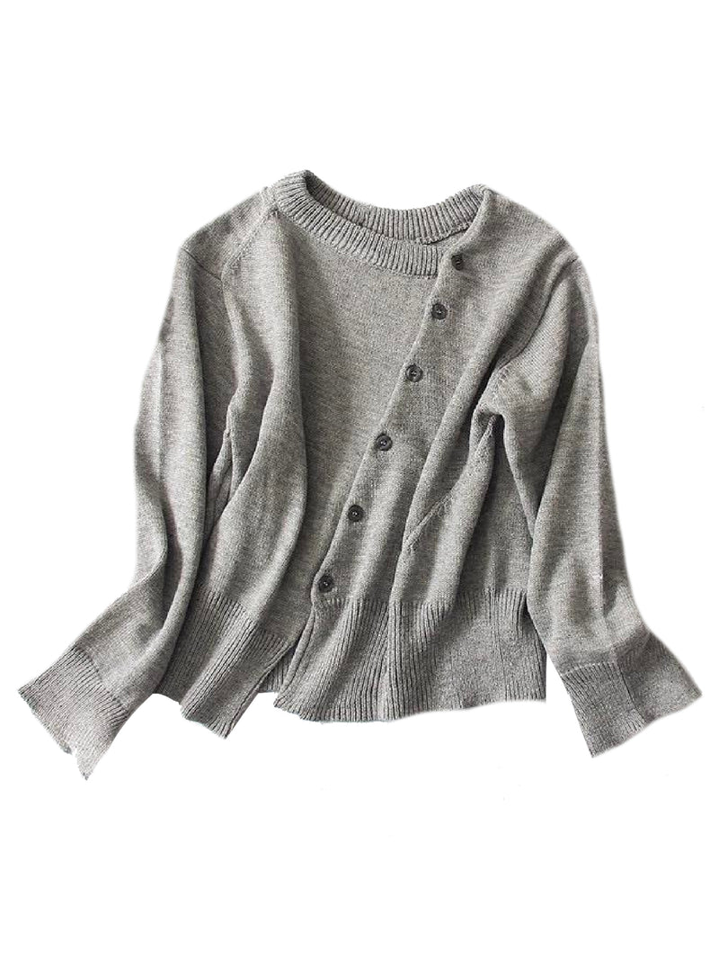 'Unnie' Asymmetrical Buttoned Cardigan (2 Colors)