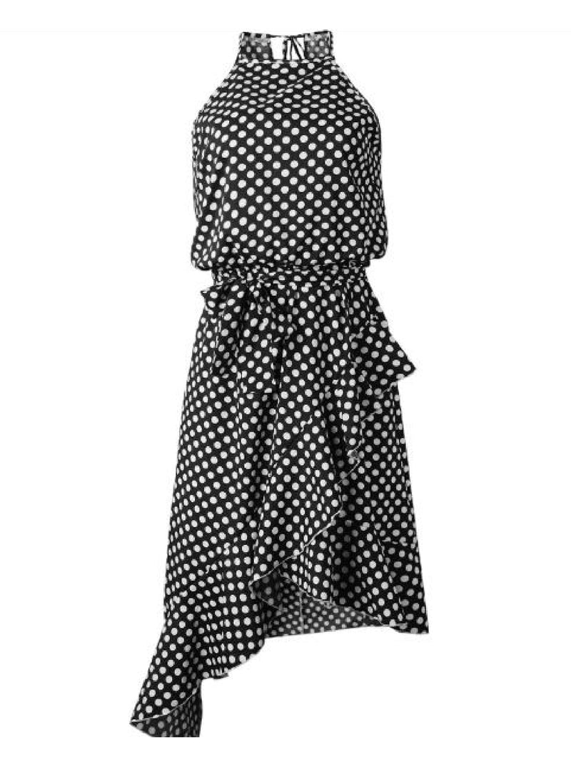 'Jeslyn' Polka Dot Halter Neck Ruffled Dress (3 Colors)