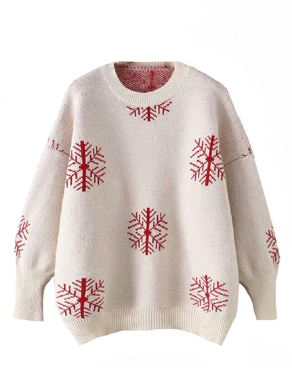 'Lula' Snowflake Pattern Knitted Sweater (2 Colors)
