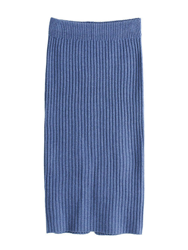 'Niki' Blue Ribbed Knit Midi Skirt