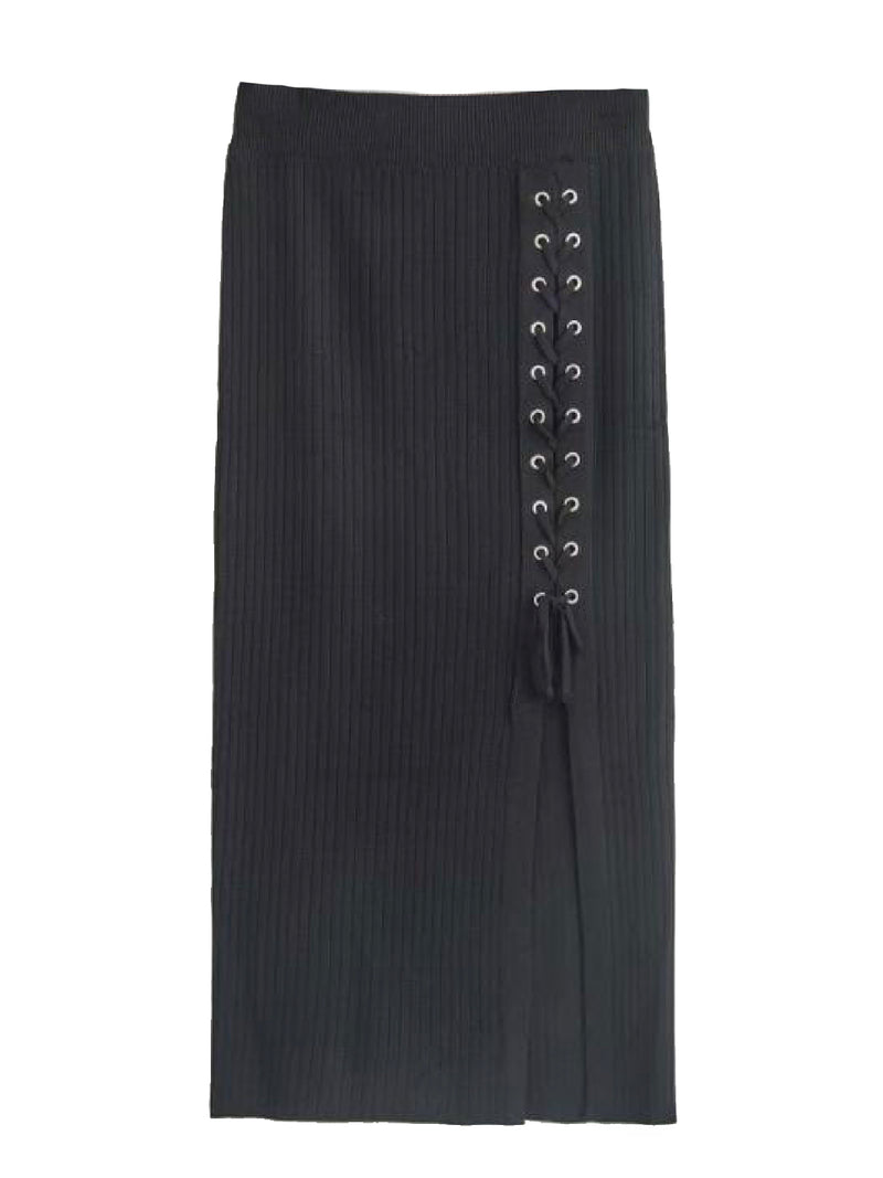'Randie' Criss-Cross Tied Side Slit Midi Skirt (4 Colors)