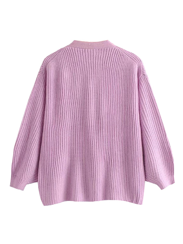 'Petunia' Lilac Knitted Cardigan
