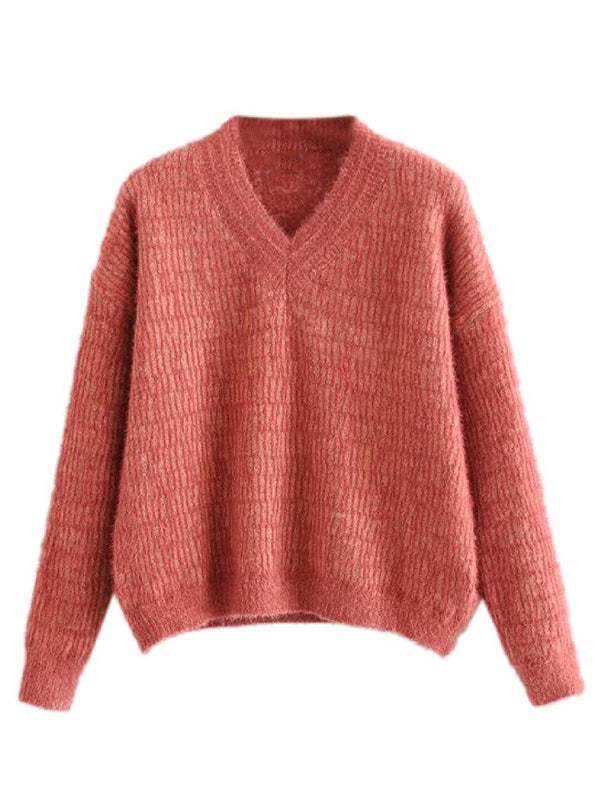 'Sue' Fuzzy V-Neck Knitted Sweater