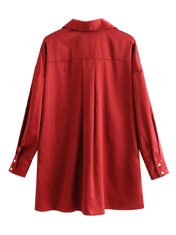 'Chrissy' Red Oversized Shirt
