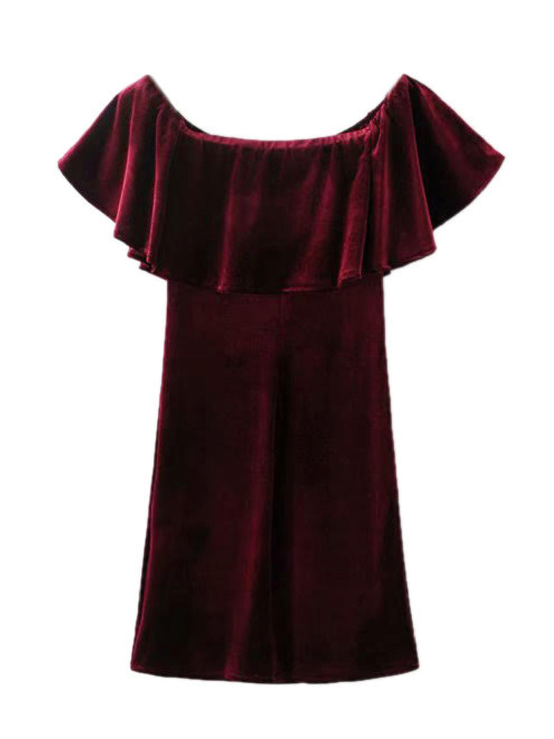 'Hetty' Velvet Off The Shoulder Mini Dress (2 Colors)