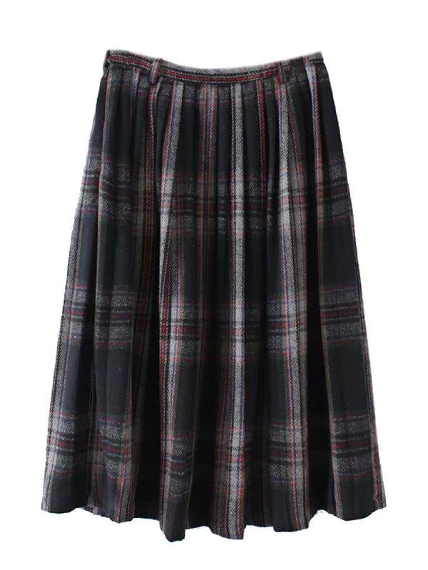 'Claudia' Plaid Pleated Midi Skirt