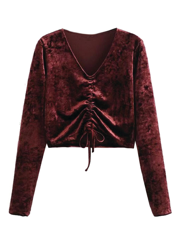 'Cleopatra' Velvet Ruched Cropped Top (2 Colors)