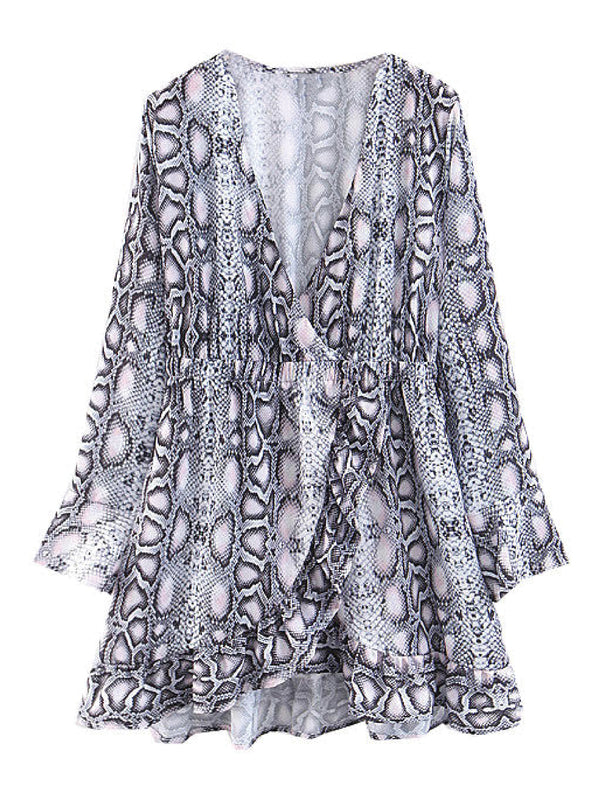 'Flo' Snake Print Frilled Wrap Dress
