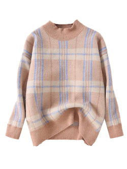 'June' Checked Mock Neck Sweater (2 Colors)