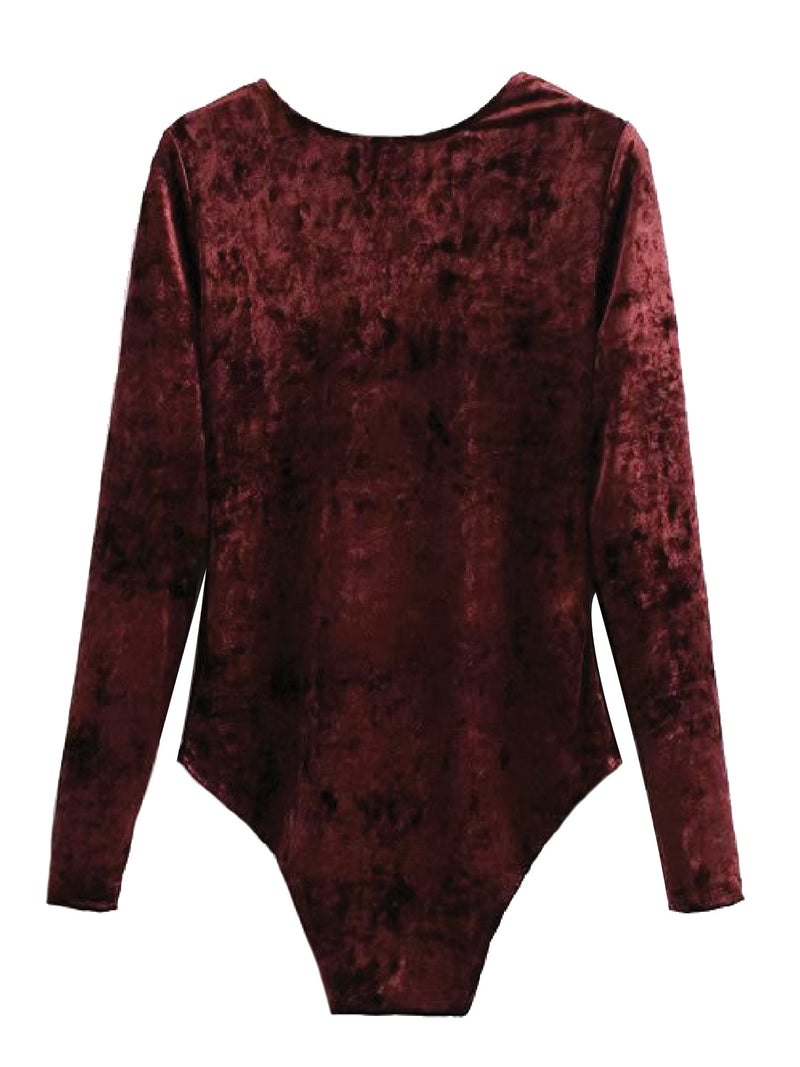 'Fendy' Velvet V-Neck Bodysuit (2 Colors)
