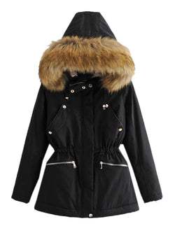 'Leighton' Furry Hood Cinched Waist Puffer Coat