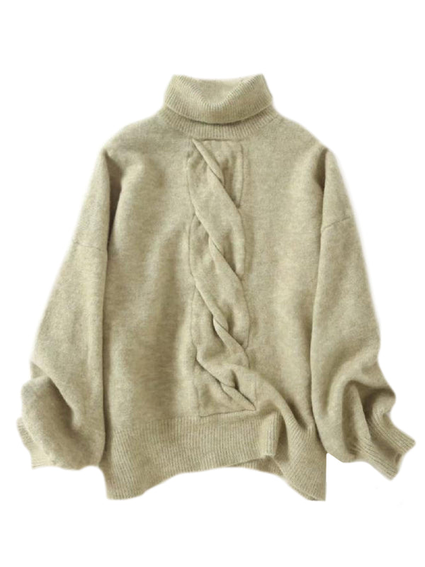 'Twisted Cable Roll Neck Sweater (4 Colors)