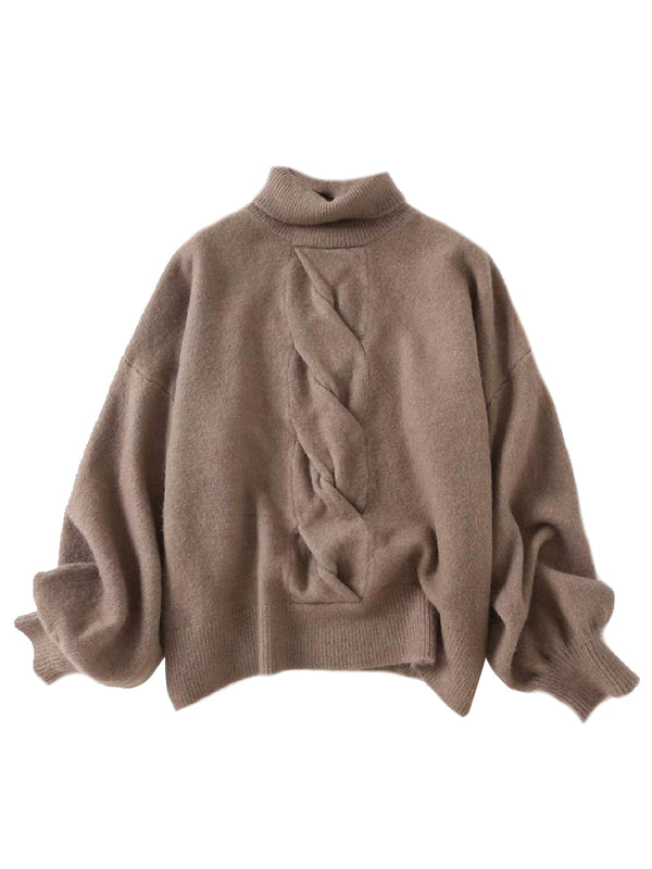 'Tweedy' Twisted Cable Roll Neck Sweater (4 Colors)