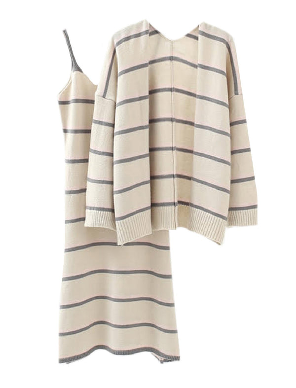 'Ingrid' Striped Cardigan Strap Dress Set