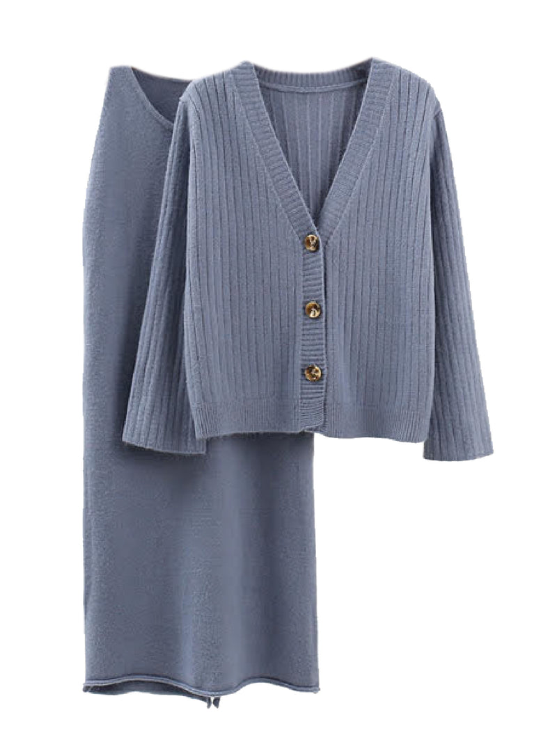 'Makana' Ribbed Knit Cardigan Sleeveless Dress Set (3 Colors)