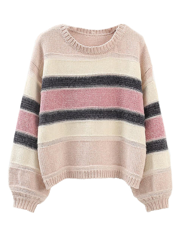 'Rocio' Color Block Chenille Sweater (3 Colors)
