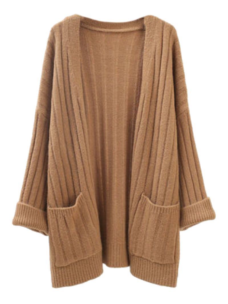'Hebe' Jumbo Ribbed Knit Open Cardigan (4 Colors)