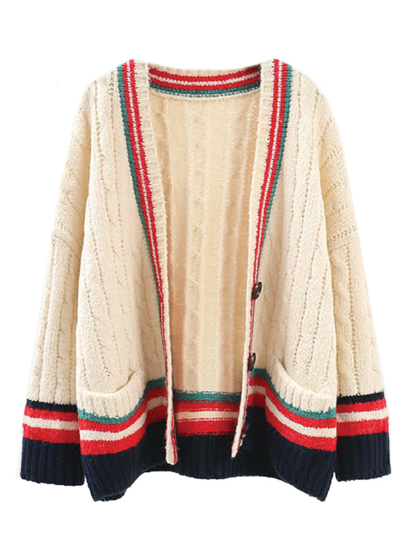 'Kachina' Cable Knit Varsity Button Down Cardigan (3 Colors)