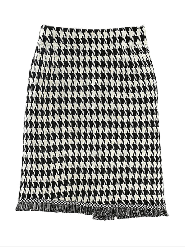 'Celestine' Houndstooth Fringed Knitted Skirt