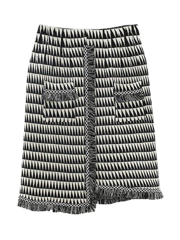 'Dilys' Geometric Fringed Knitted Skirt