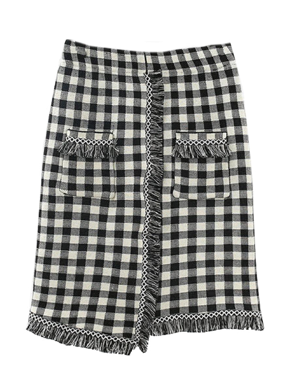 'Innis' Checked Pattern Fringed Knitted Skirt